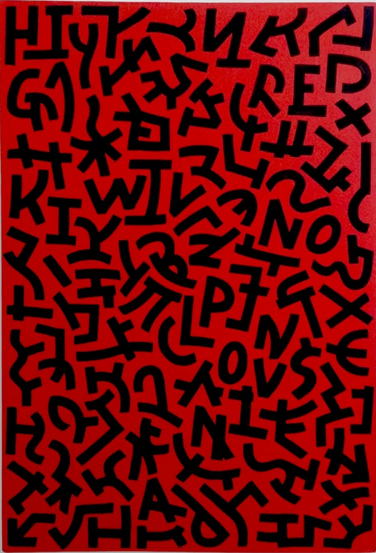 Oliver Cain - Red Love (2019) Acrylic on canvas, 92x62cm