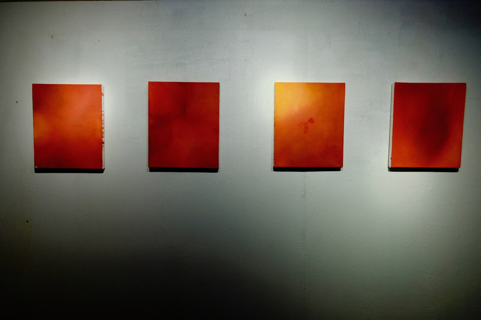 Teheuheu's works for The Nomadic Art Gallery's exhibition Belief in Dunedin