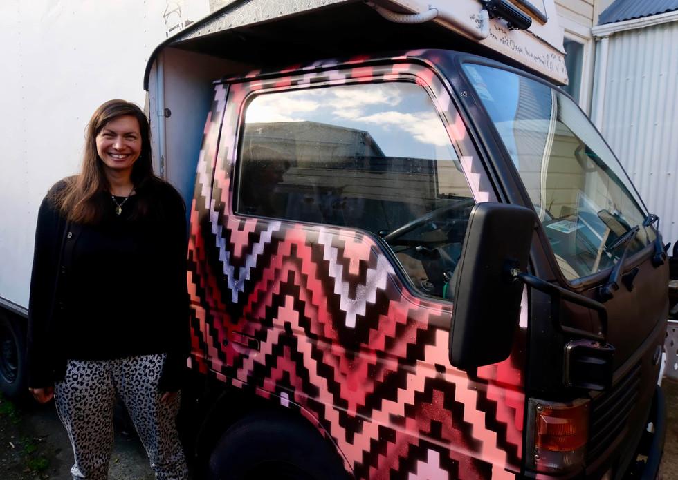 Aroha Novak's addition onto the truck's public participatory artwork