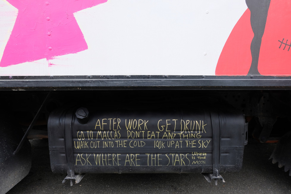 Rhys Feeney's addition onto the truck's public participatory artwork