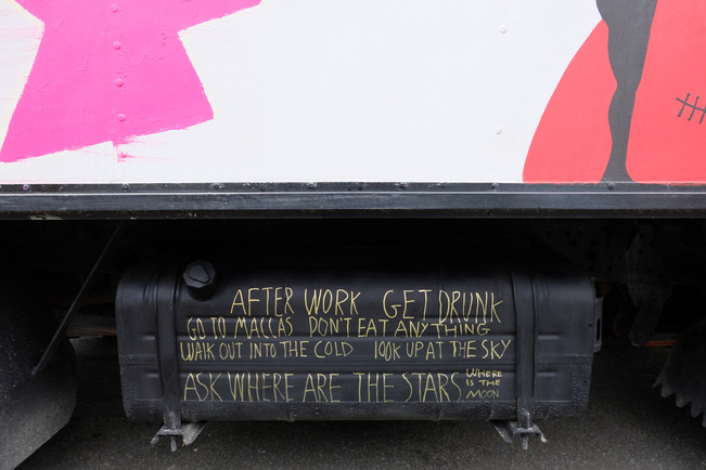 Feeney's poem on the truck's public participatory artwork