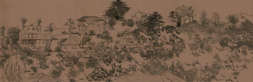 Minrui Yang, Detail of Long Scroll Hillborough (2018).