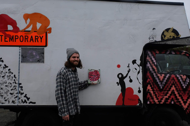 Gareth Brighton's addition onto the truck's public participatory artwork