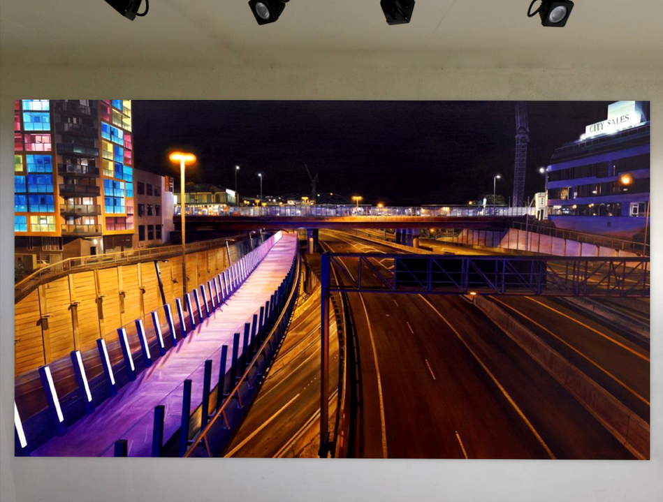 Sam Foley - From Hope St Bridge (Auckland) - 2018 ; Oil on cancas (118 x 200 cm) - Courtesy of the artist