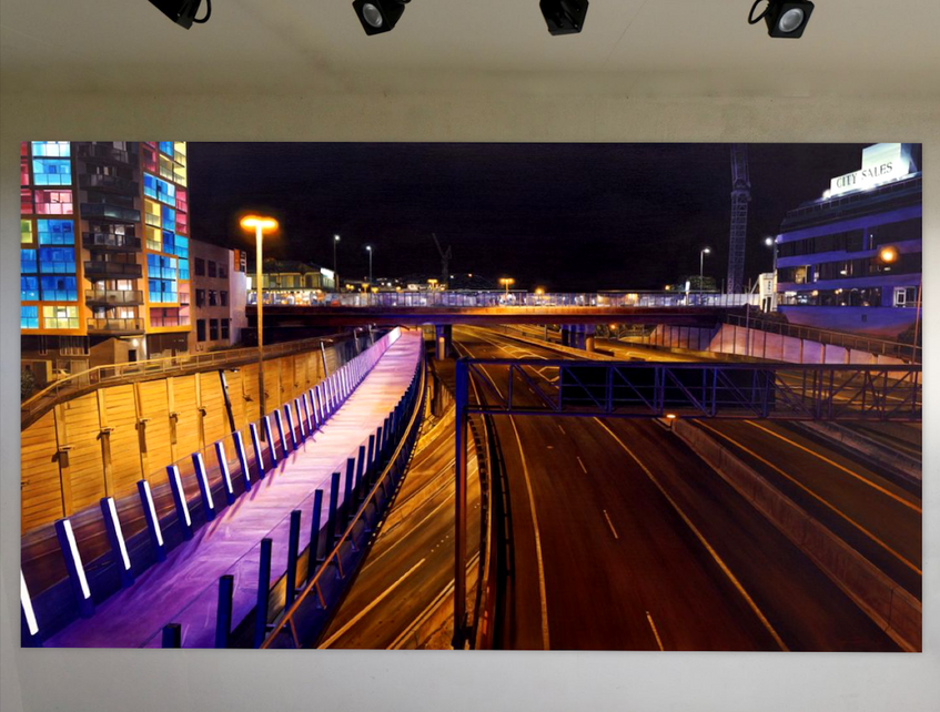 Sam Foley - From Hope St Bridge (Auckland) - 2018 ; Oil on cancas (118 x 200 cm) - Courtesy of the artist