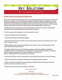 Duties of the Club Board of Directors co