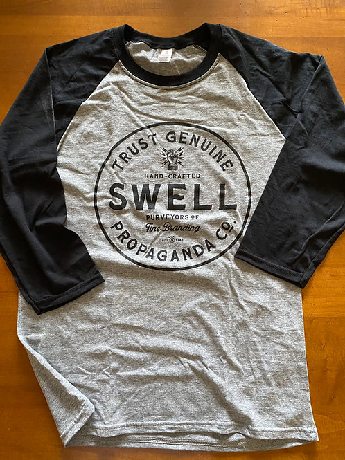 Swell Badge Black & Gray Raglan Unisex Tee