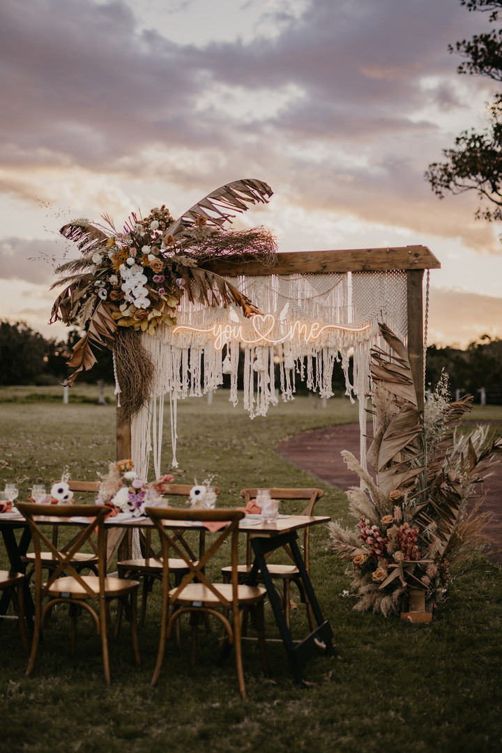 Intimate wedding set up
