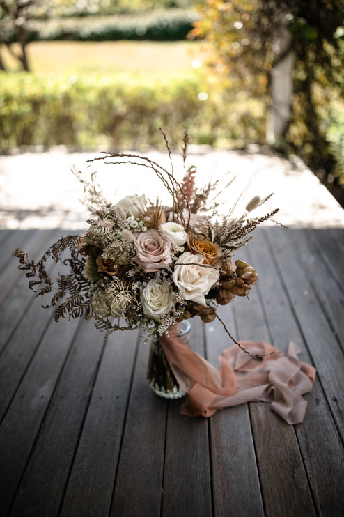 Bridal Bouquet with trailing ribbons