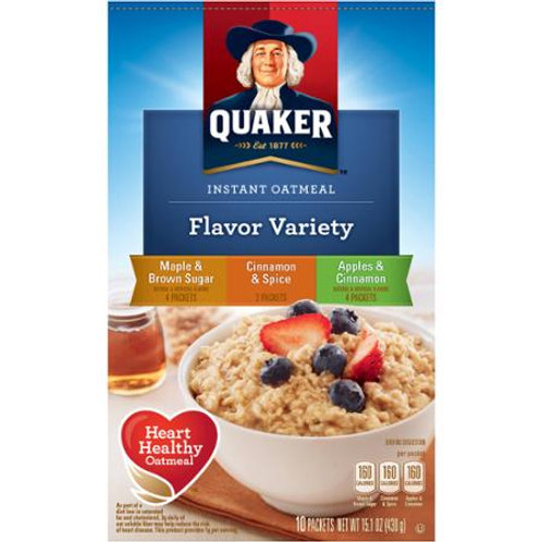 Quaker Flavor Variety Instant Oatmeal, 10 count,