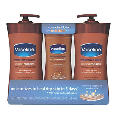 Vaseline Intensive Care Cocoa Butter Lotion, Cocoa Radiant 20.3 oz. 2 pk + 10 oz