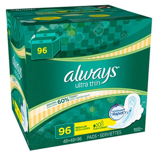Always Ultra Thin Overnight Pads with Wings 76 ct