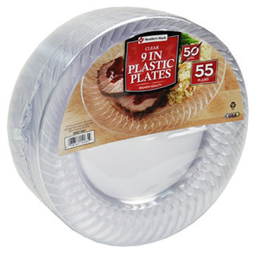 """Clear Plastic Plates, 9"""" (55 ct.)"""