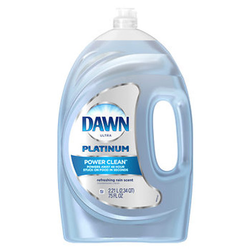 Dawn Platinum Power Clean Dishwashing Liquid, Refreshing Rain, 75 oz.