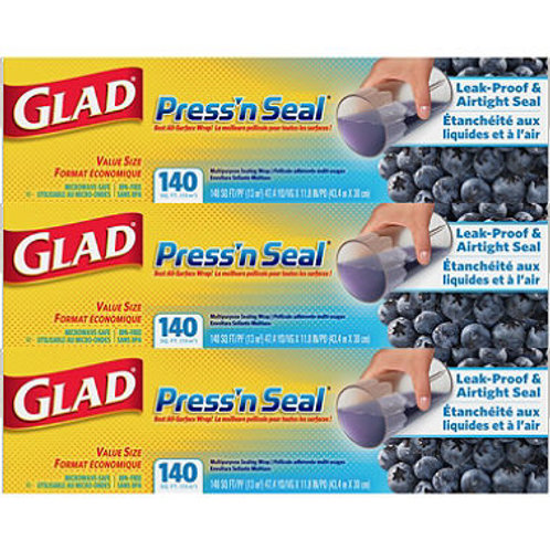 Glad Press'n Seal Food Wrap, 140 Square Foot Roll (3 pk.)