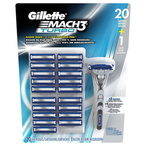 Gillette MACH3 Turbo Razor Handle 20 cartridges