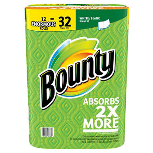 Bounty Enormous Paper Towels, White (107 sheets per roll, 12 ct.)
