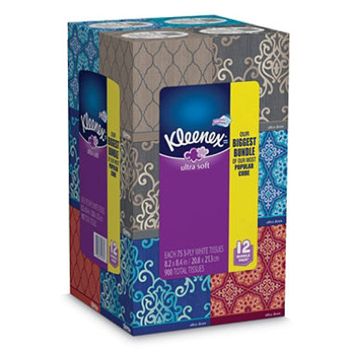 Kleenex Ultra Soft Facial Tissues, 75 Tissues,12pk
