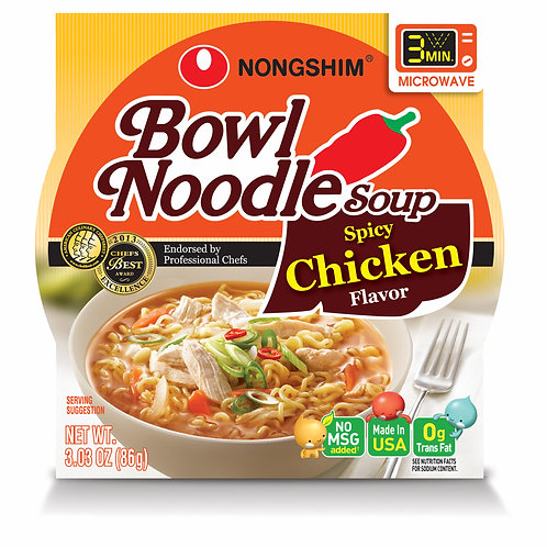 Nong Shim Spicy Chicken Bowl Noodle Soup, 12 pk./3.03 oz