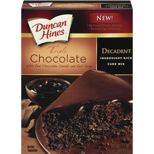 Duncan Hines Triple Chocolate Cake Mix, 21 oz