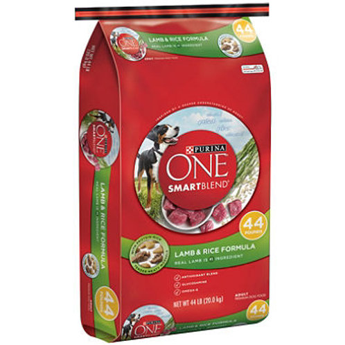 Purina ONE Smartblend Dog Food, Lamb & Rice 44 lbs