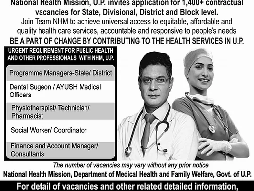 UP-NHM recruitment 2019 update: Application status and query/correction window open till 26/12/20