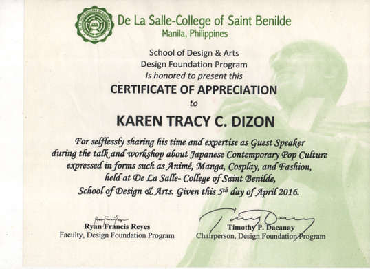 2016_DLSC Saint Benilde_School for Desig
