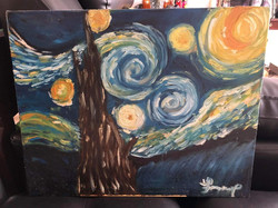 """Recreation Tracy Dizon 2016, Oil, """"The Starry Night"""" by Vincent van Gogh"""