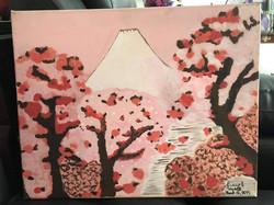 "Recreation Tracy Dizon 2015, Acrylic, ""Mount Fuji seen through Cherry Blossom"" by Katsushika Hokusai"
