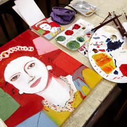 "Recreation Tracy Dizon 2015, Oil, ""Queen Elizabeth II 336"" by Andy Warhol"