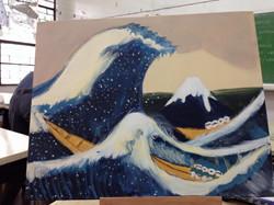 "Recreation Tracy Dizon 2015, Acrylic, ""The Great Wave off Kanagawa"" by Hokusai"