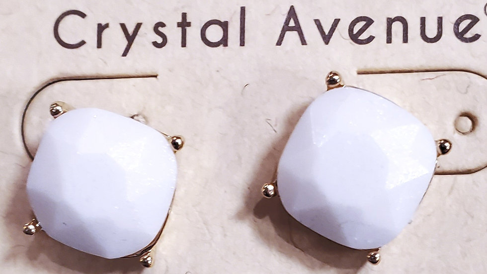 White Stud Faceted Earring