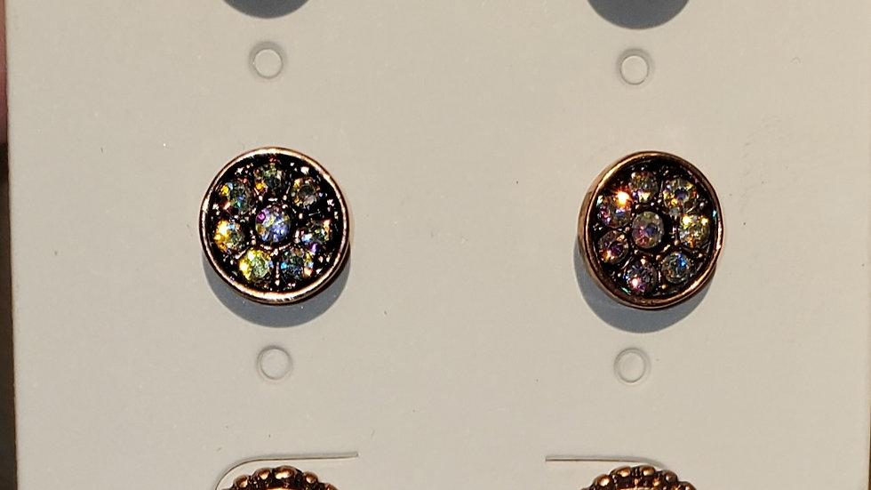 3 pair Multi Color Crystal Stud Earring set