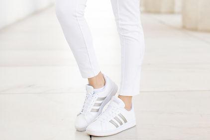 Adidas shoes on female model