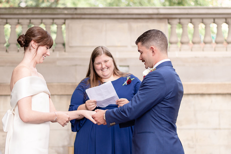 A bride and groom exchange vows during their Spanish Steps Elopement in Washington D.C.
