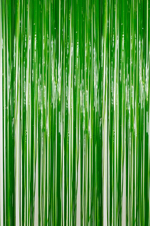 Semi-Gloss (Plastic Wet Look) Green Fringe Curtain
