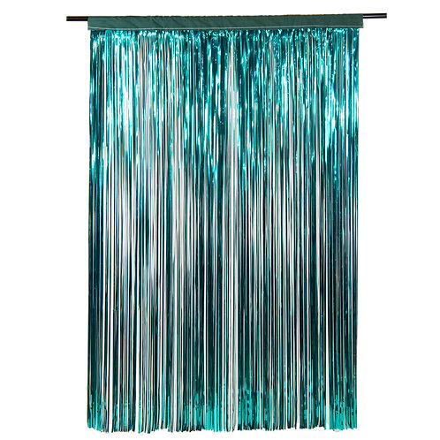 Metallic Teal Fringe Curtain