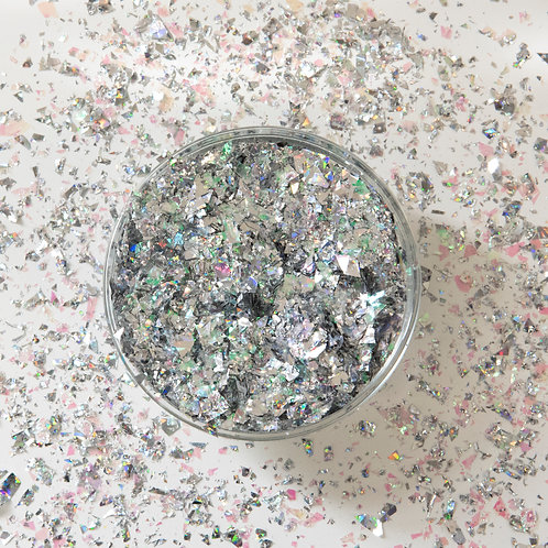 Silver Diffraction (Holographic) Confetti Scattered Flakes