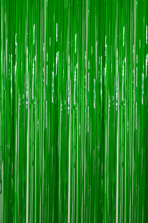 Semi-Gloss (Plastic Wet Look) Moss Green Fringe Curtain
