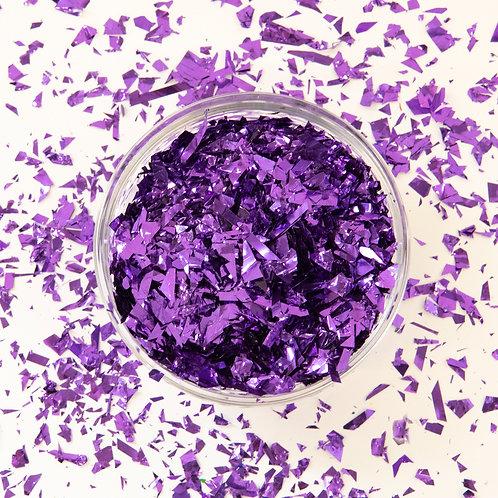 Metallic Purple Confetti Scattered Flakes