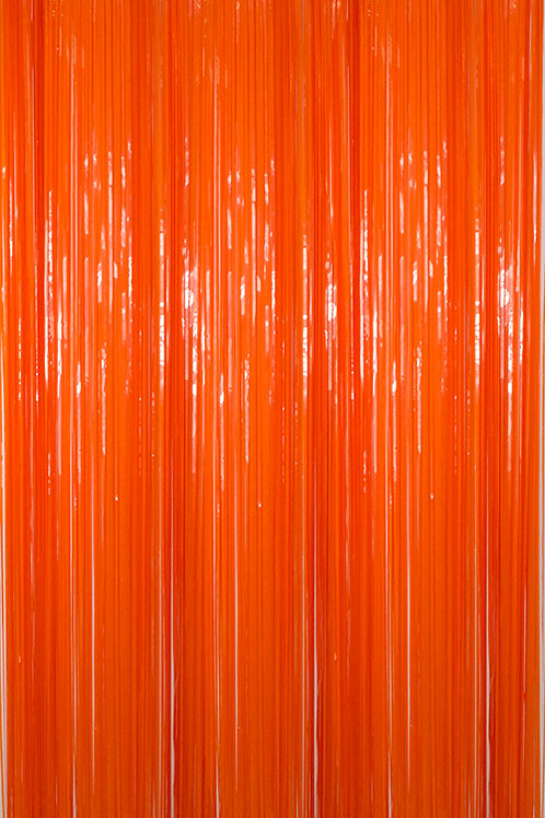 Semi-Gloss (Plastic Wet Look) Orange Fringe Curtain