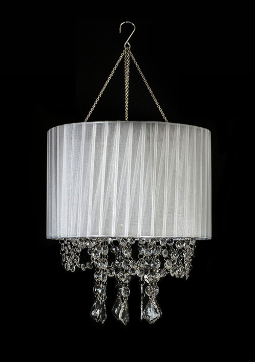 White lamp shade crystal beaded chandelier cha02w decorativenovelty white lamp shade crystal beaded chandelier cha02w aloadofball Choice Image
