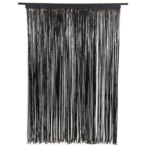 Black Cracked Ice Fringe Curtain