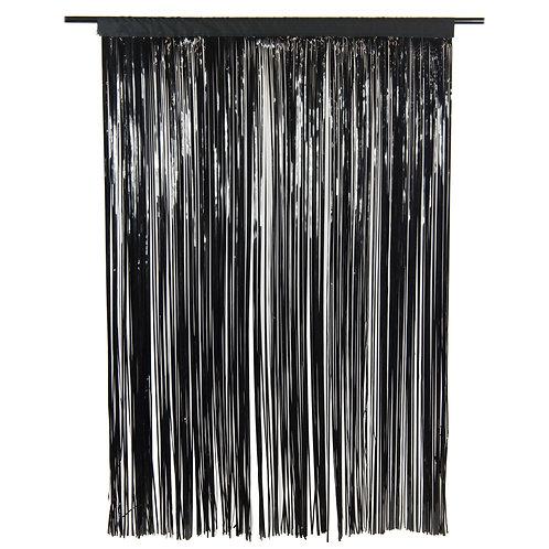 Metallic Black Fringe Curtain