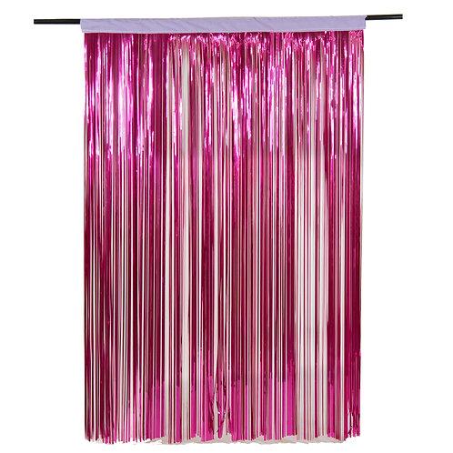 Metallic Cerise Fringe Curtain