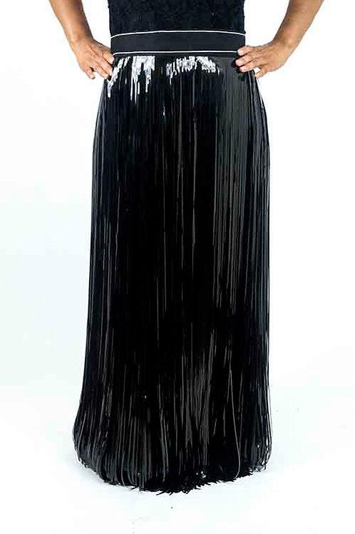 Black Metallic Fringe Skirt