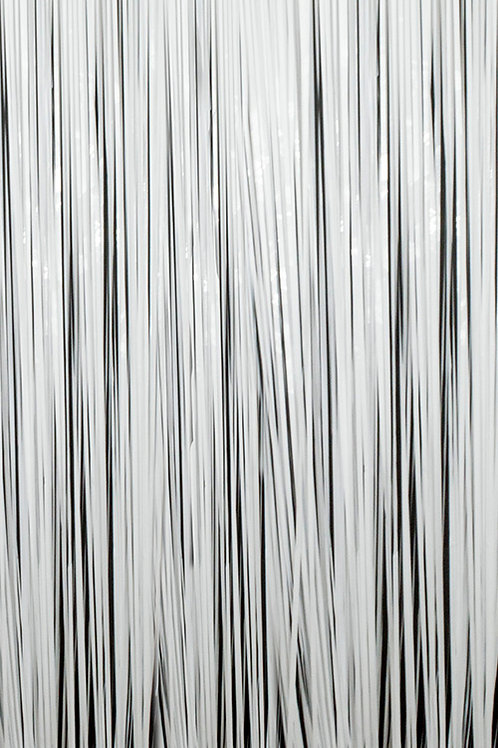 Semi-Gloss (Plastic Wet Look) White Fringe Curtain