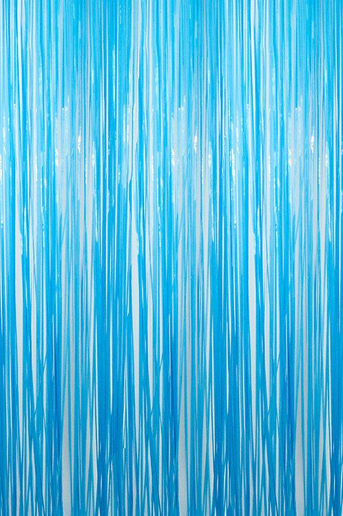 Semi-Gloss (Plastic Wet Look) Light Blue Fringe Curtains