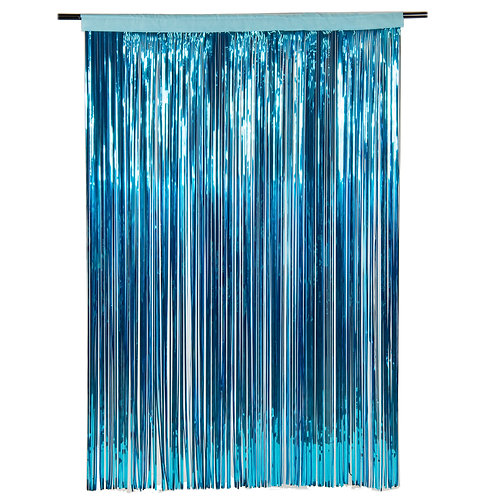 Metallic Ice Blue  Fringe Curtain