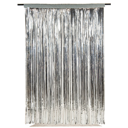 Metallic Silver Fringe Curtain